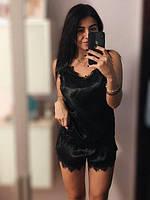 Черная майка с кружевом и шорты, пижамный комплект., фото 1