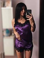 Пижамный комплект  майка и шорты с кружевом, сирень., фото 1