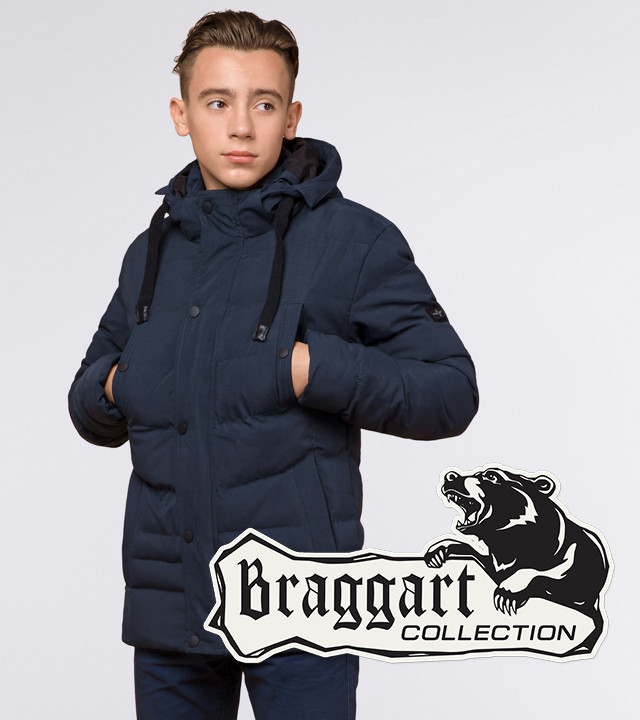 13-25 лет   Зимняя молодежная куртка Braggart Youth 25480 темно-синяя