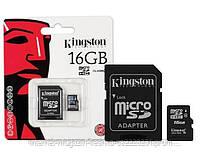 Карта памяти  microSDHC Kingston 16Gb class 4 (adapter SD)