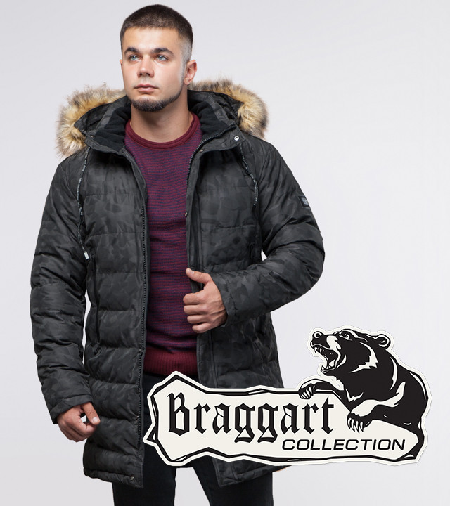 13-25 лет   Зимняя молодежная куртка Braggart Youth 25330 черная