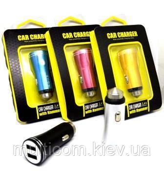 04-01-006. АЗУ 1A+2,1А (2 гнезда USB), разноцветные, корпус металл, в блистере
