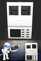 04-02-032. Сетевая зарядка на 8 гнезд USВ (DC 5V 8,2A + 2х унив. гнезда), c дисплеем, c кабелем 1,5м