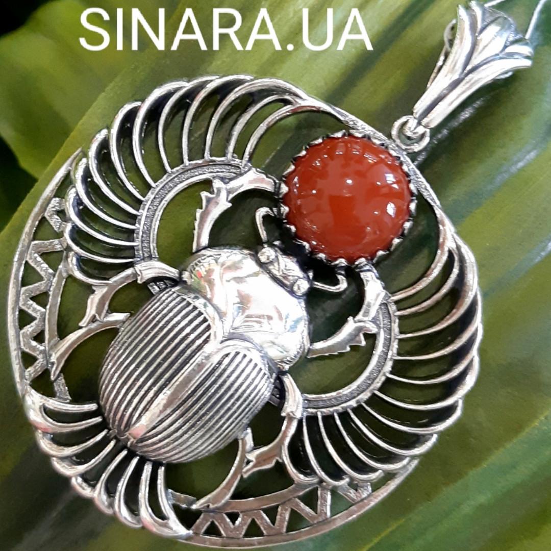 Серебряный Скарабей с сердоликом кулон - Кулон Скарабей серебро