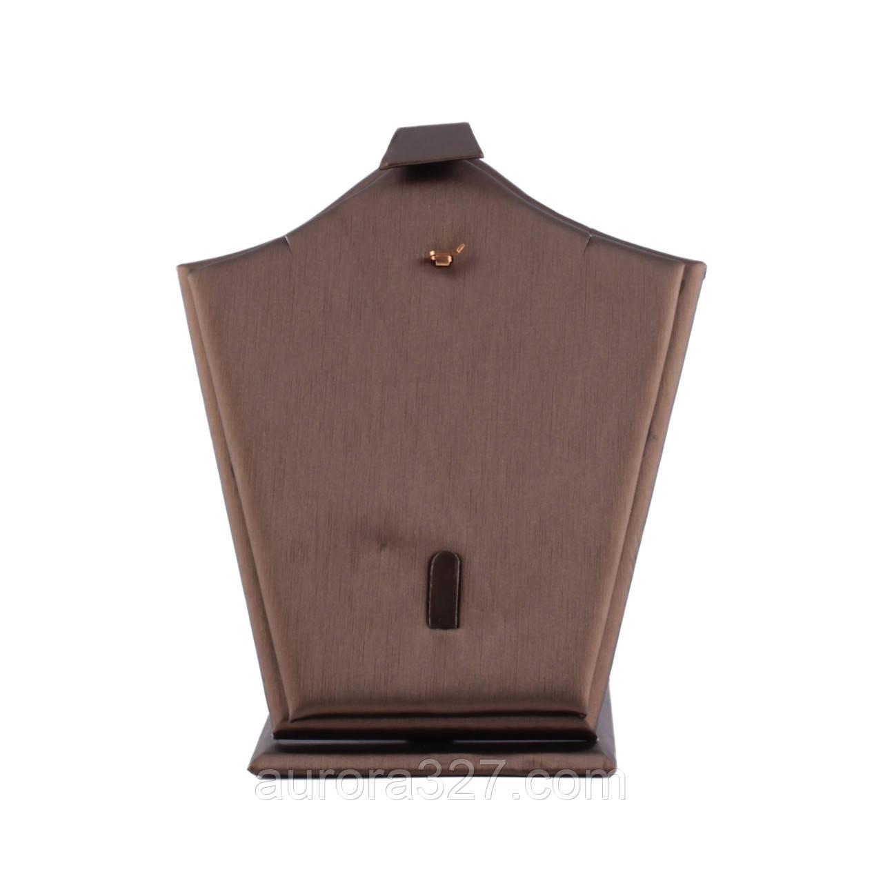 """Подставка под набор """"Цепочка,кулон,кольцо коричневая эко-кожа 19 х 16,5 х 11 см"""""""
