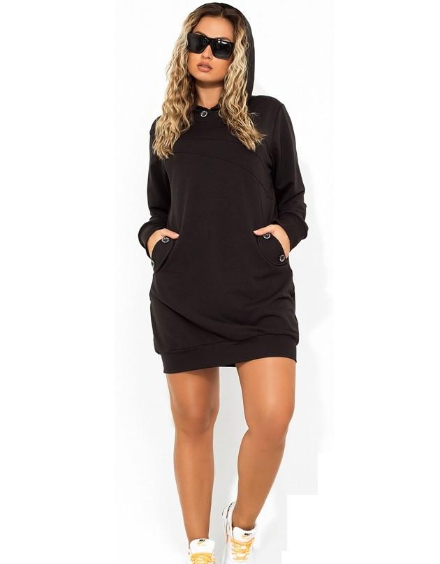 dc321a167bb Платье мини в стиле спорт шик черное размеры от XL ПБ-725 - Lace Secret
