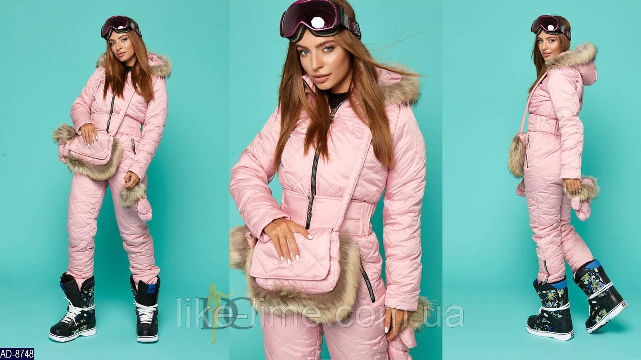 Женский красивый лыжный комбинезон +сумка+варешки