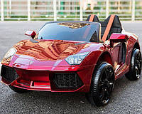 Детский электромобиль КХ812Lamborghini, Автопокрас кожа, резина, 4амортизатора, красный, дитячий електромобіль