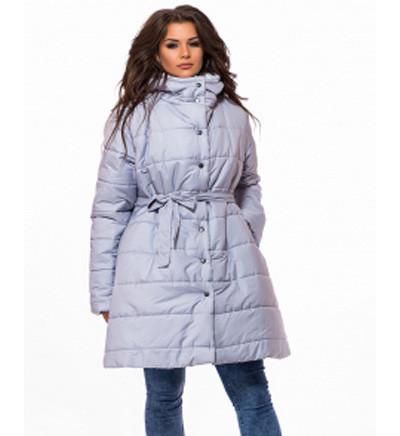 Куртка женская расклешенная с капюшоном размер 48-50 серый