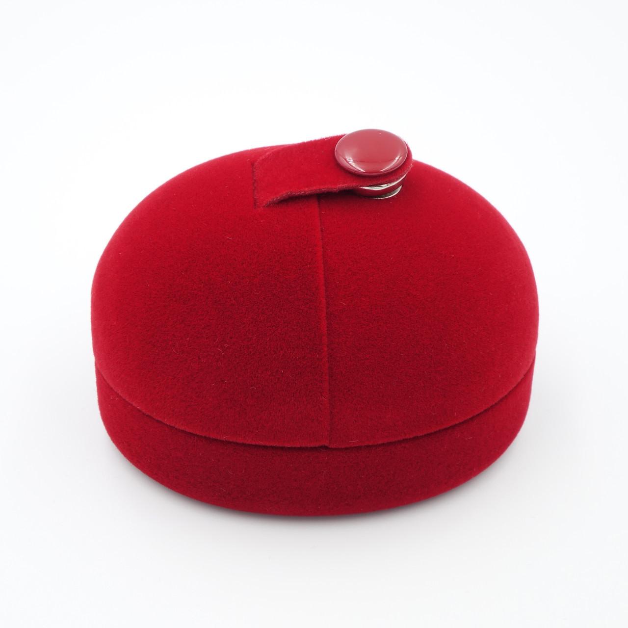 """Футляр бархатный под два кольца,серьги """"Овал с кнопкой"""" красный"""