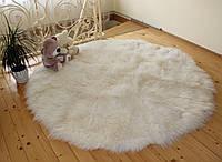 Коврик из овечьих шкур КРУГ 200х200, белый натуральный цвет