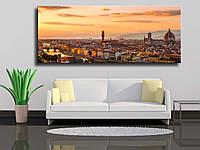 """Картина на холсте """"Панорамный вид на реку Арно, Понте Веккьо, Палаццо Веккио и Кафедральный собор Санта-Мария"""""""
