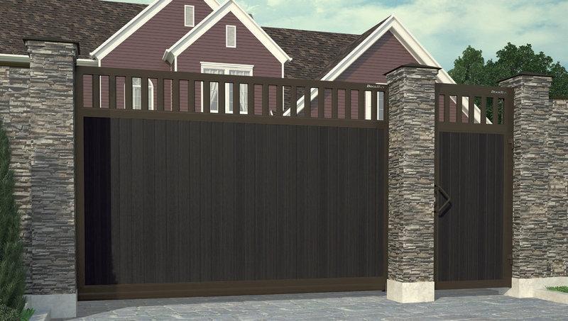 Откатные ворота с заполнением сэндвич-панелями DoorHan в алюминиевой раме