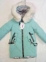 Детская удлиненная куртка на девочку р. 116-140 мята
