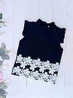"""Школьная блуза для девочки """"Ромашка"""" , р. 128-152, темно-синяя"""