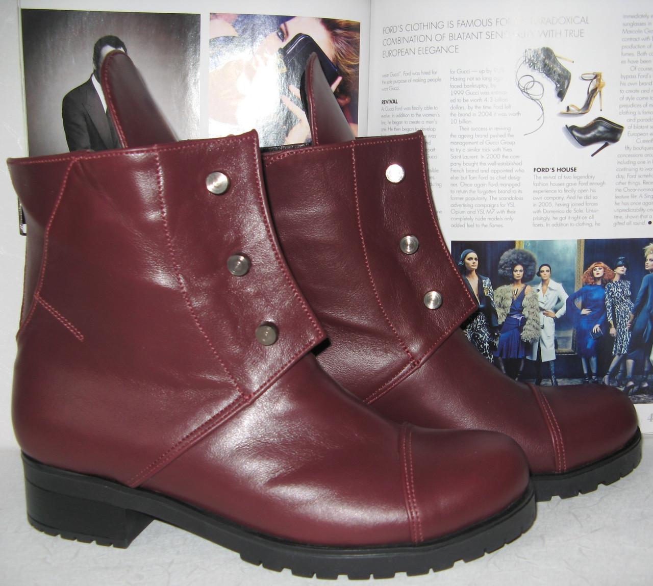 08a3a55b Красивые кожаные женские ботинки винного цвета обувь для зимы сапоги марсала