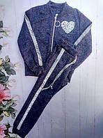 Детский спортивный костюм, трикотаж ангора, пайетка , размеры 128-152, темно синий