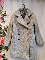Пальто на девочку р. 140-152, светло-серое
