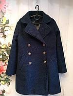 Пальто на девочку р. 140-152, цвет темно-синий