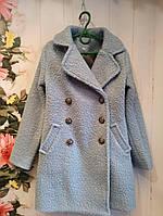 Пальто на девочку р. 140-152, цвет голубой