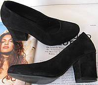 Nona! женские качественные классические туфли замшевые черные  40 41 42 43 взуття на каблуке 7,5 см черевики