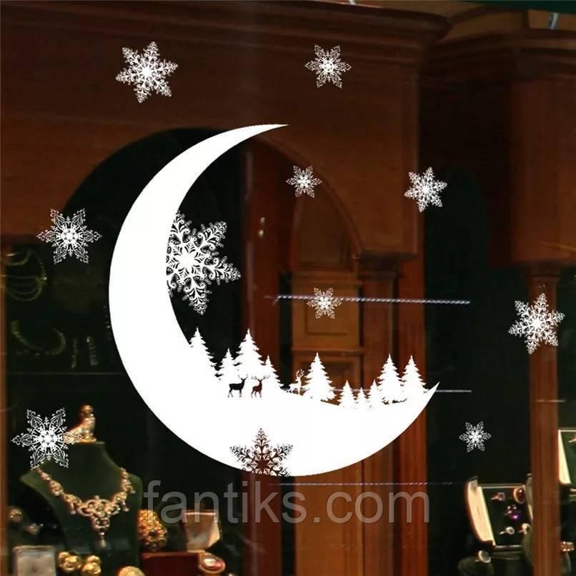 """Новогодняя силиконовая наклейка на окно  """" Рождественский месяц"""""""