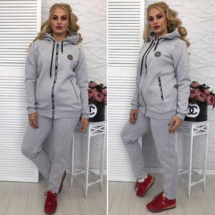 """Теплый женский спортивный костюм """"Violet"""" с карманами и капюшоном (большие размеры), фото 2"""