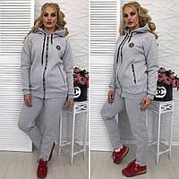 """Теплый женский спортивный костюм """"Violet"""" с карманами и капюшоном (большие размеры)"""