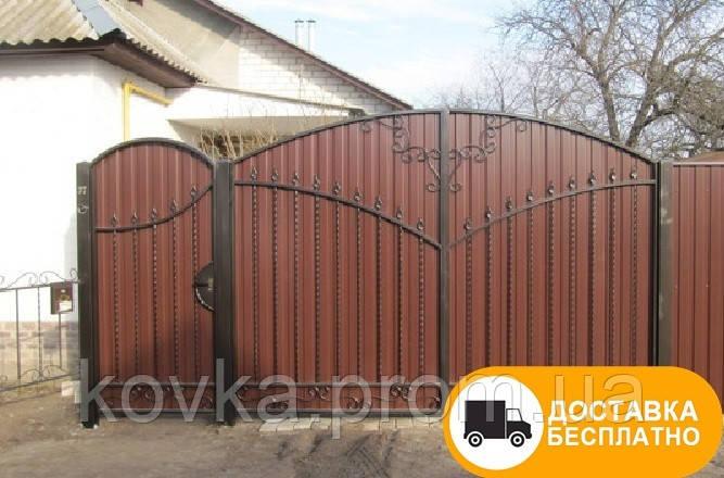 Ворота с калиткой из профнастила, код: Р-0114