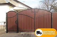 Ворота с калиткой из профнастила, код: Р-0114, фото 1