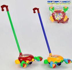 Игрушка каталка Крабик.Детская игрушка каталка.Каталка для детей с ручкой.