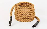 Канат спортивный из сизаля для лазанья с креплением (l-6 м, d-3,8 см)