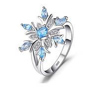 Серебряное кольцо Снежинка с натуральным Топазом