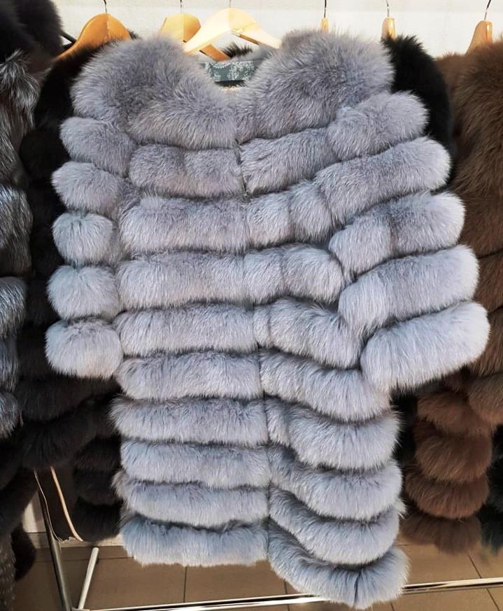 Женская шуба из пепельного песца   купить онлайн в ЛЕАШОП