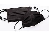 Маска медицинская 3-х слойная на резинках (50 шт в упаковке) Черная
