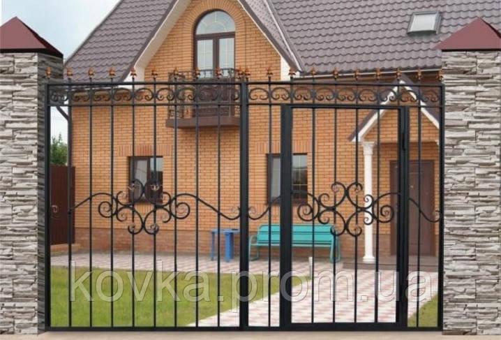 Сварные ворота с встроенной калиткой, код: К-0103