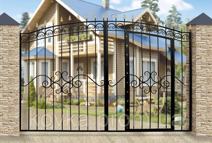 Арочные ворота с встроенной калиткой, код: К-0105