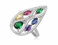 Серебряное кольцо  Цветная Роса с цирконами