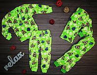 Махровая пижама  Щенячий патруль зеленая 80-86,86-92