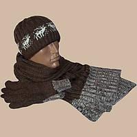 Мужская вязаная шапка (утепленный вариант), шарф-петля и перчатки c норвежскими орнаментами