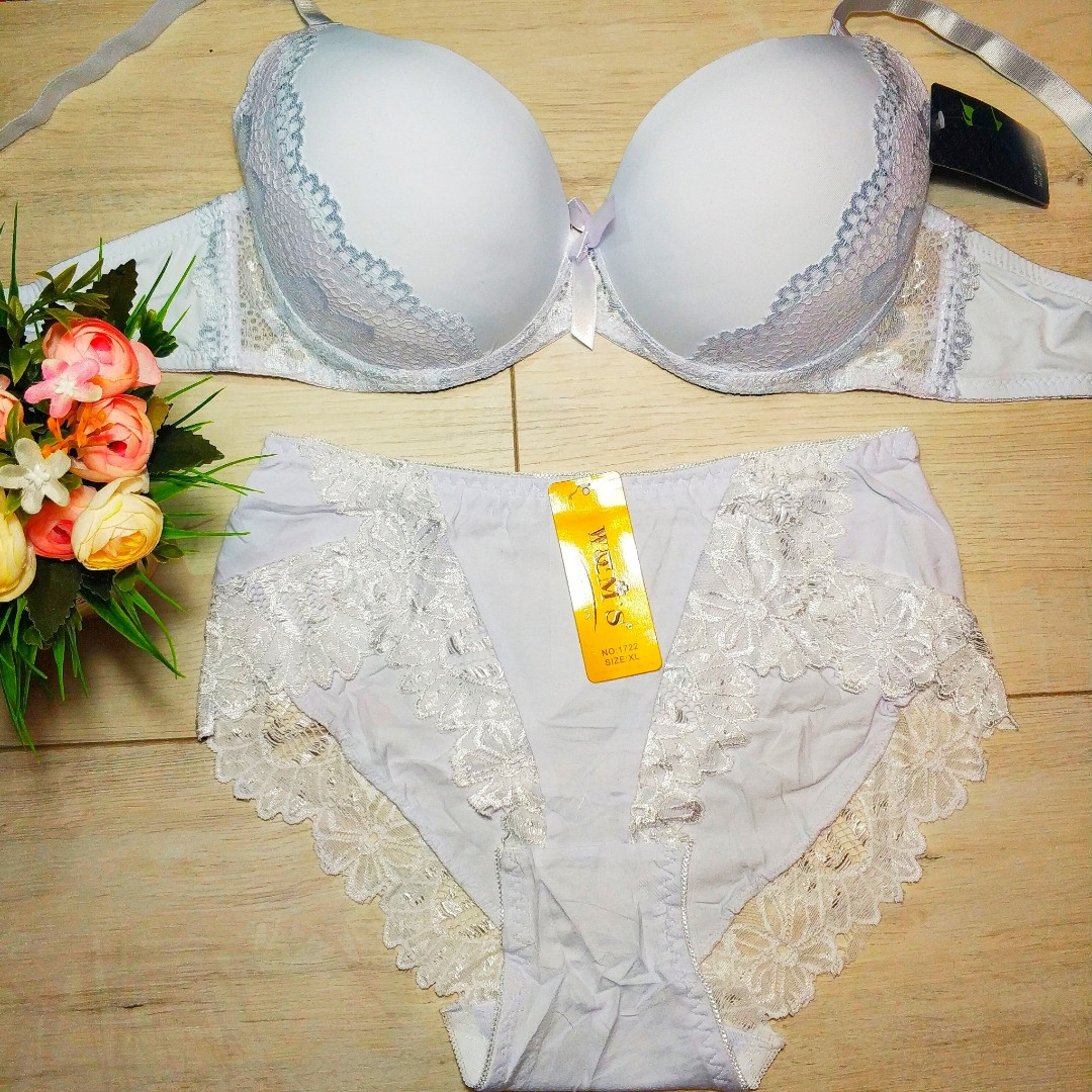 Белый комплект нижнего белья, чашка D, объем груди 80-100