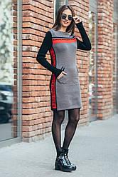 Теплая вязанная женская туника с капюшоном и карманами SPORTSHICK, 42-48