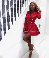 Платье пиджак женское, с пуговицами и пышной юбкой, повседневное, стильное, модное, офисное, яркое