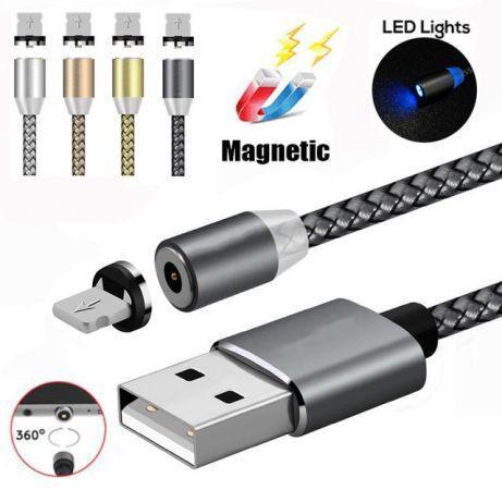 Магнитный кабель для IOS, Type C. или micro USB с ротацией поворота коннектора на 360° X-CABLE
