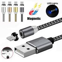 Магнитный кабель для IOS, Type C. или micro USB с ротацией поворота коннектора на 360° X-CABLE, фото 1