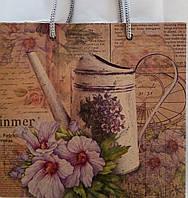 Пакет подарочный бумажный крафт чашка 16х16х7 (22-102)
