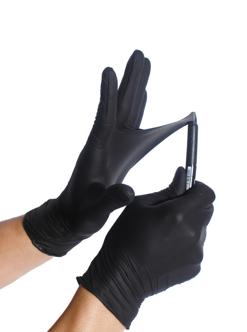 Нитриловые перчатки чёрные М, 200 шт/уп