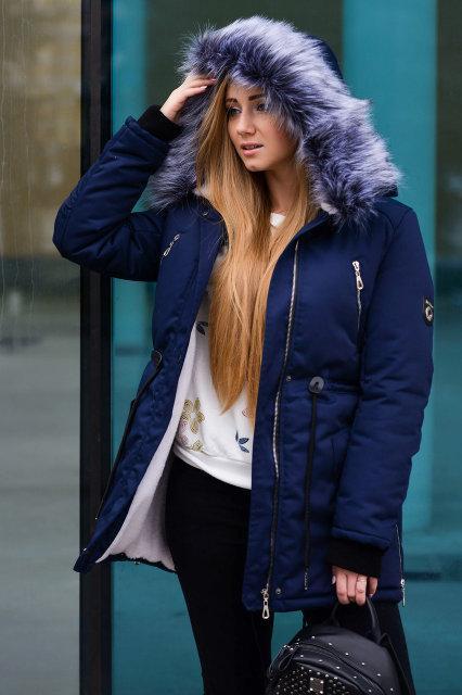 cc26f3f4cfd3 Женская курточка парка на меху (набивная овчина) до -30 градусов. Евро  длина. Цвета  темно-синий. Верх  коттон с пропиткой от влаги
