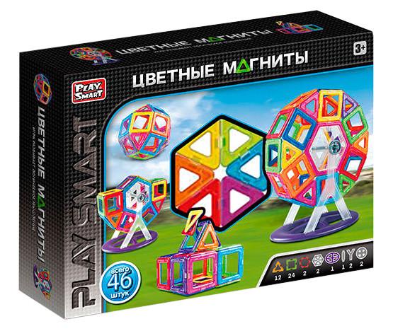 """Магнитный конструктор Play Smart 2430 """"Цветные магниты"""", 46 дет"""