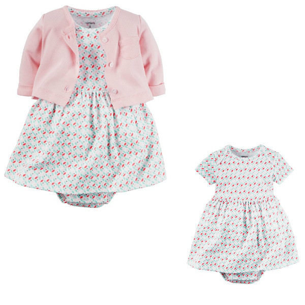 Комплект платье-боди с кардиганом для девочки Carters ягодки